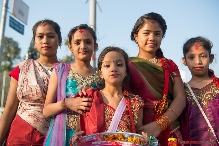 A group of young ladies ready for Diwali celebrations in Kathmandu