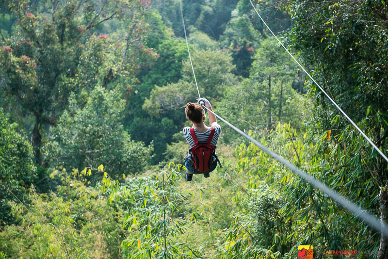 One of the many zip-lines in The Bokeo Nature Reserve, Laos