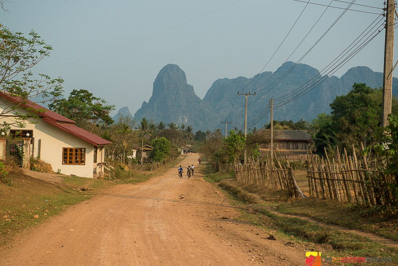 Karst topography viewed from a quiet backroad in Vang Vieng, Laos