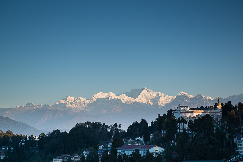 A view of Kanchenjunga, the third highest mountain in the world from the town of Darjeeling, West Bengal, India