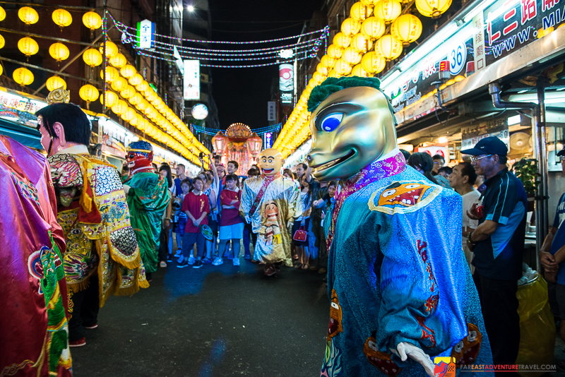 On the Hungry Ghost Festival parade route in Keelung's night market