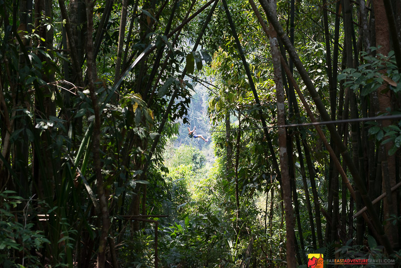 Enjoying the zip lines of The Gibbon Experience in The Bokeo Reserve of Northwest Laos