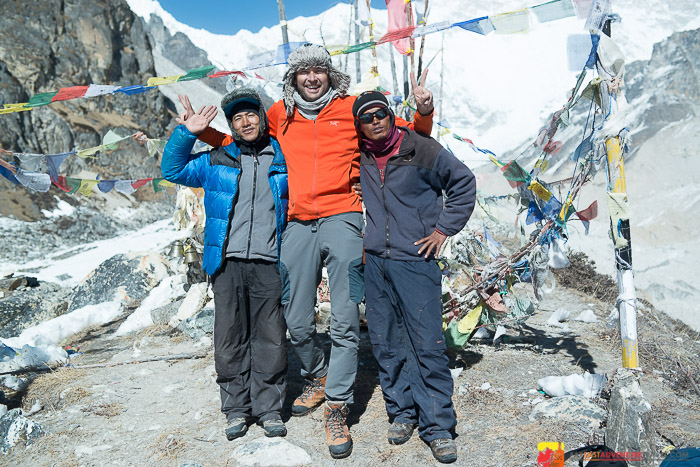 With my guide Hari and porter Milan at Oktung-the south trekking base camp of Kanchenjunga-the 3rd highest mountain in the world