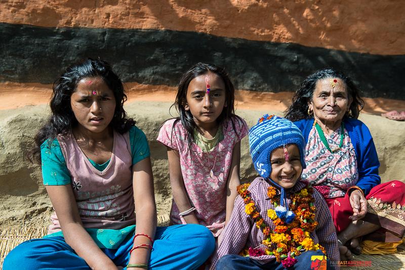Villagers taking a break during Diwali festivities-Kanchenjunga region-Nepal