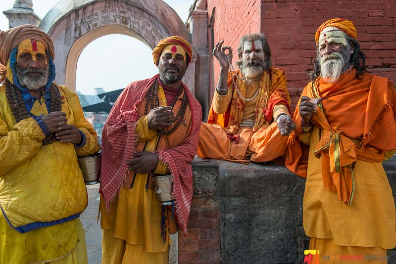 Sadhus or holy men at Pashupatinath Temple-Kathmandu, Nepal