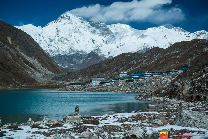 Cho Oyu, the 6th highest mountain in the world towers over Gokyo village- boasting  some of the best views in Nepal's Himalaya