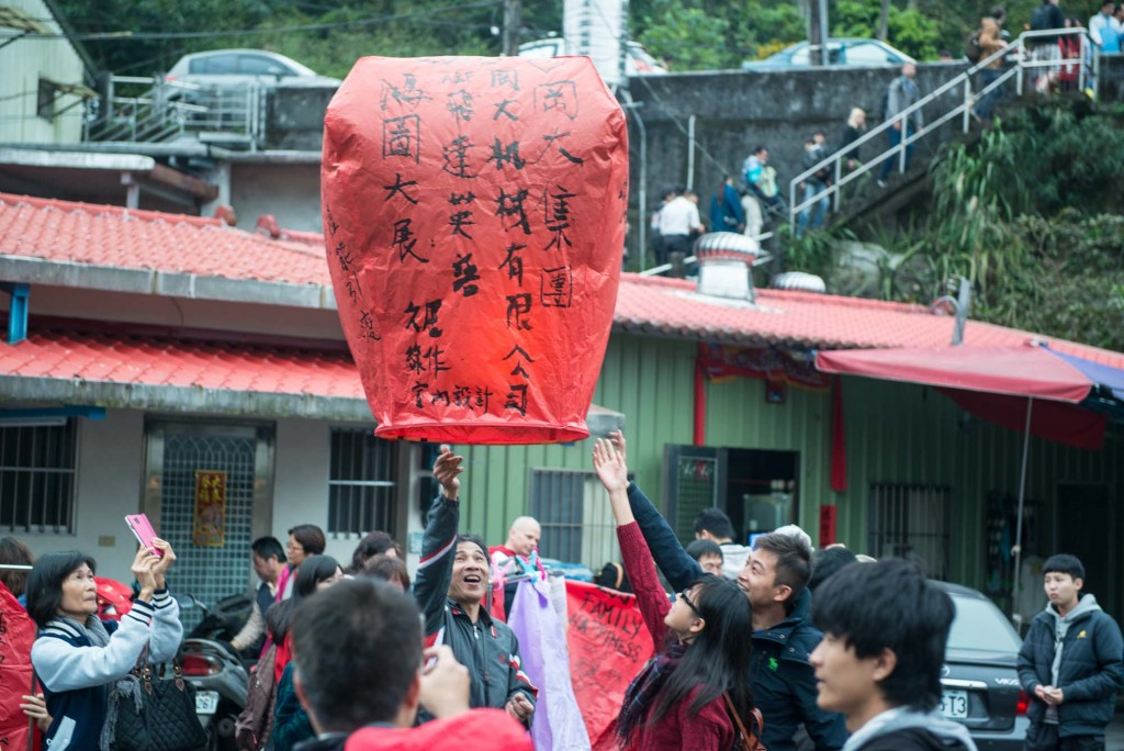 A sky lantern is sent off into the sky in Pingxi, Taiwan  before the start of the festival that sees thousands of sky lanterns simultaneously released as part of Lunar New Year celebrations
