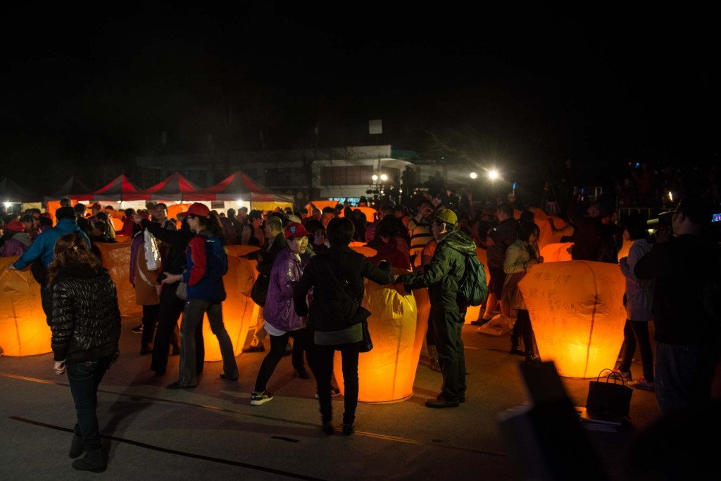 A crowd prepares for a lantern release during the Pingxi Sky Lantern Festival in Northern Taiwan
