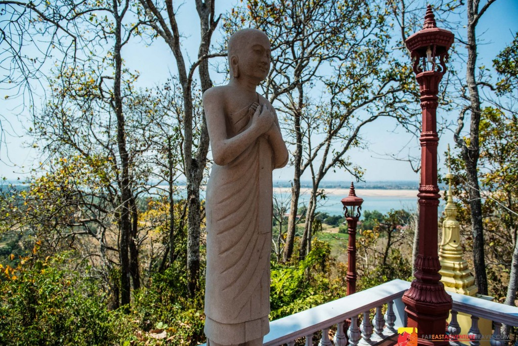 View overlooking The Mekong River from Sambok Pagoda and mountain-Kratie Province, Cambodia