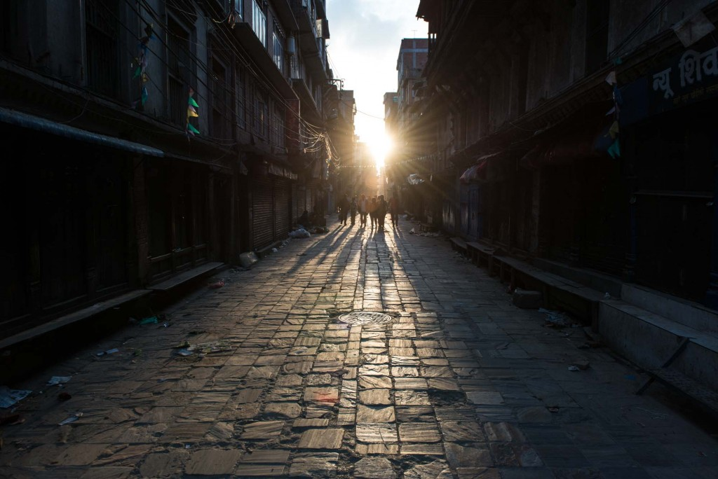 The quiet streets of Thamel-Kathmandu after it's second largest earthquake May 12th, 2015
