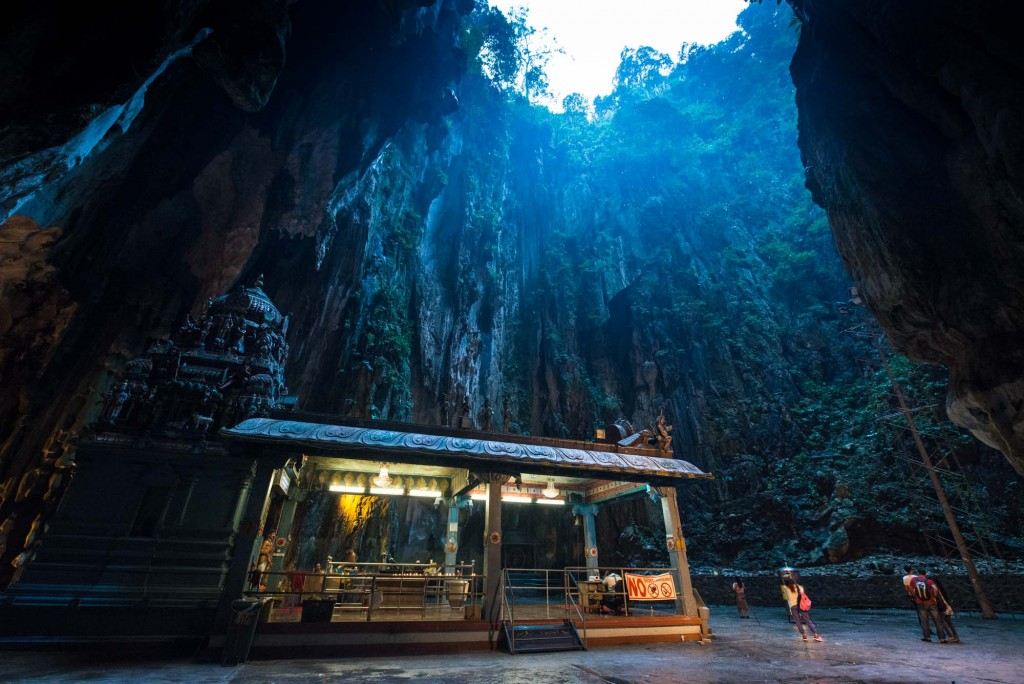 Inside the Cathedral Cave or Temple Cave of the Batu Caves , a natural limestone outcrop with one of the most popular Hindu Temple sites outside of India-located in Selangor, Malaysia
