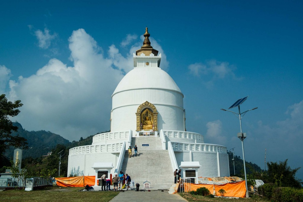 The World Peace Pagoda of Pokhara, Nepal is located high atop Ananda Hill a short boat ride and hike from the town