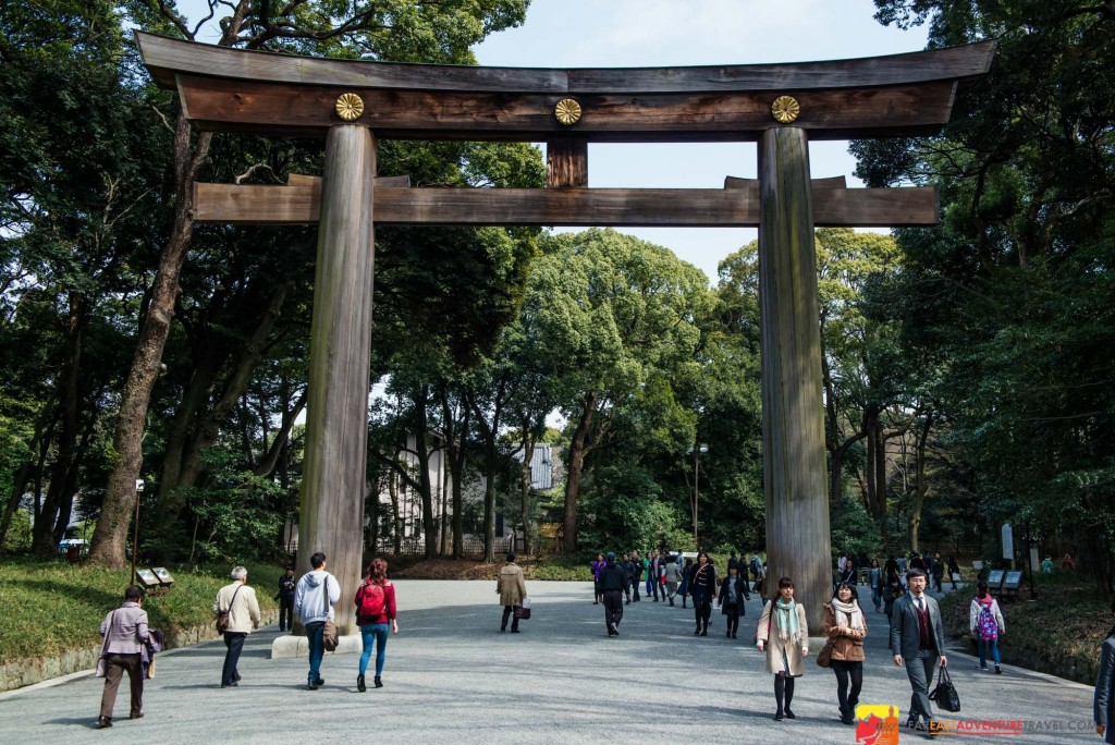 A tori gate entrance to the Meiji Shrine located right next door to Harajuku-the fashion center for Tokyo youth
