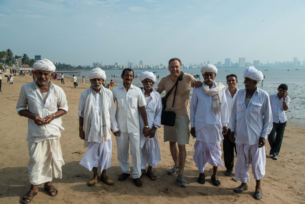 Meeting a friendly group of men from Rajasthan at the popular gathering place, Girgaon Chaupati or Chowpatty Beach in Mumbai, India