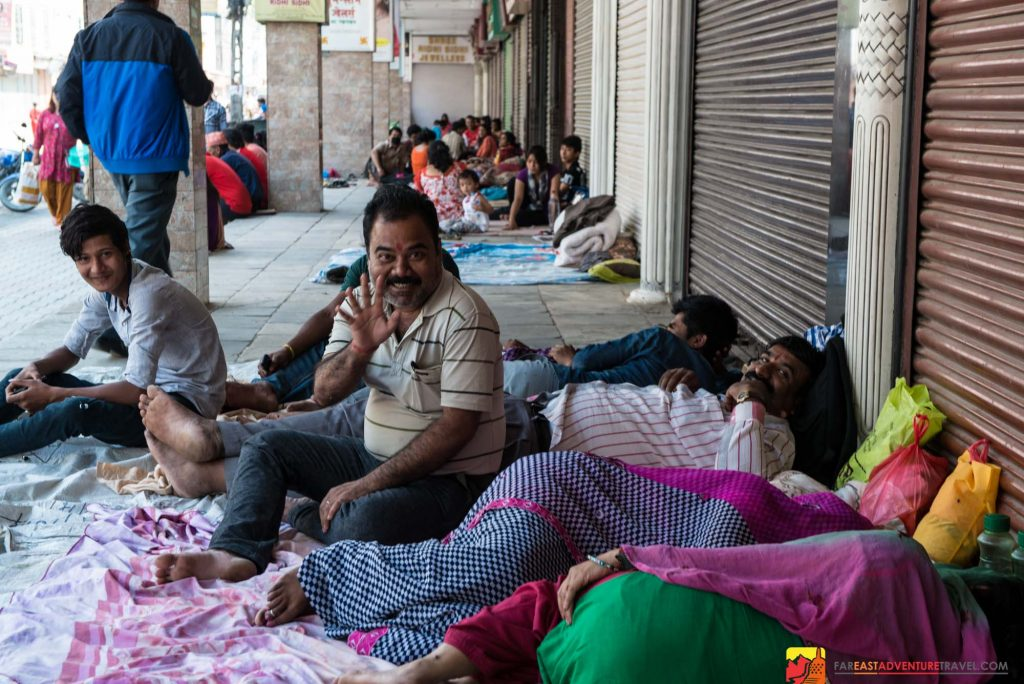After the second largest earthquake, 7.3, shook Nepal on May 12, 2015 many returned to sleeping outdoors fearing for their safety-a group here seen near Durbar Square in Kathmandu