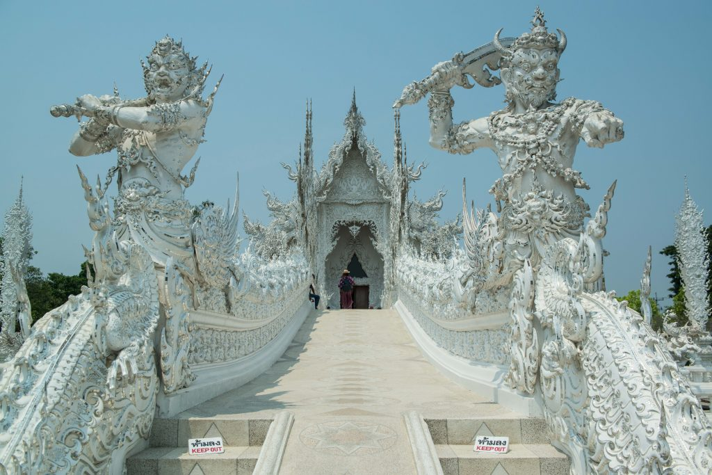 """Wat Rong Khun or """"The White Temple"""" is a popular tourist attraction located south of Chiang Rai in Chiang Rai Province, Thailand"""