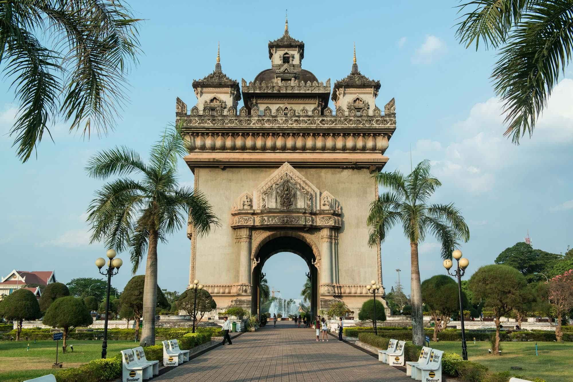 Patuxai, one of Vientiane, Laos' most important landmarks is dedicated to those who fought for independence from France