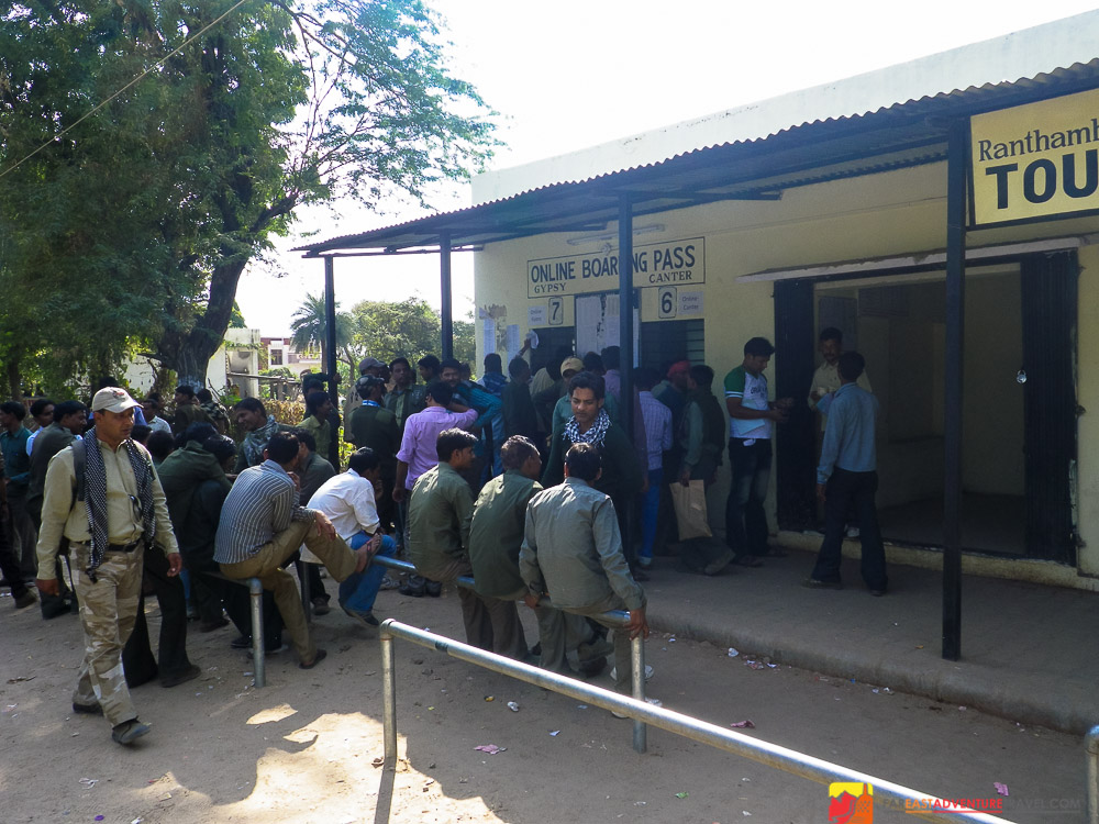 Guides, drivers and travel agents waiting outside  The Ranthambore Tiger Reserve office