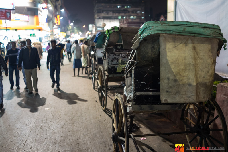Hand-Drawn Rickshaws Line The Streets Of New Market - Kolkata, India