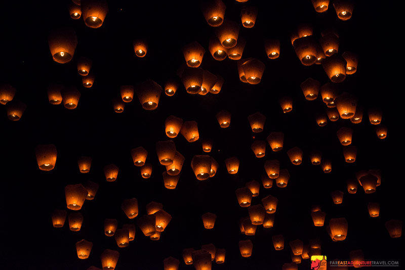 One Of Several Sky Lantern Releases-Pingxi, Taiwan