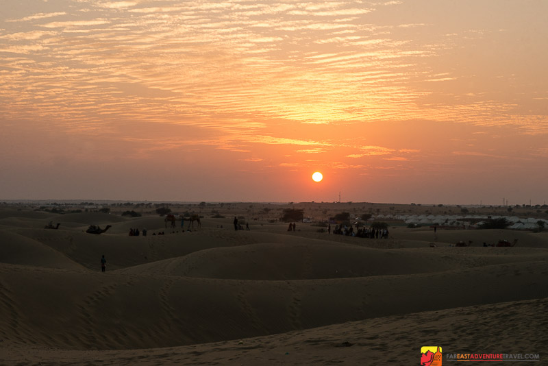 Sunset on The Sam Sand Dunes outside of Jaisalmer, Rajasthan