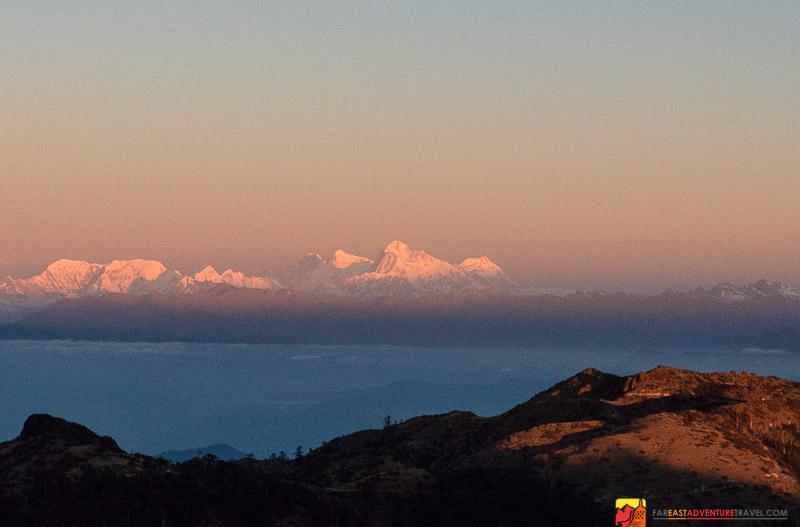 Sunrise from Sandakphu in Singalila National Park India-Lhotse, Makalu, and Mt. Everest in the distance