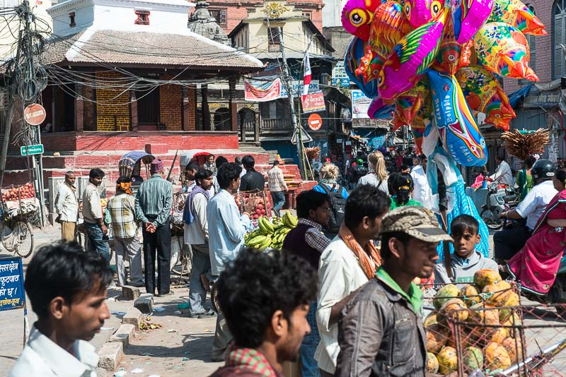 Crowds gathered during the Dashain Festival in Kathmandu's Durbar Square