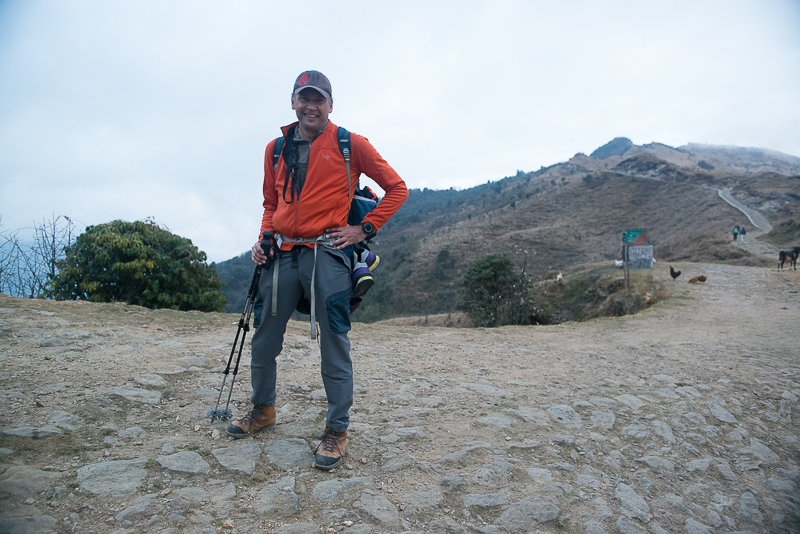 Trekking Singalila Ridge in West Bengal, India-my left foot resting in Nepal, my right foot 15 minutes behind in India