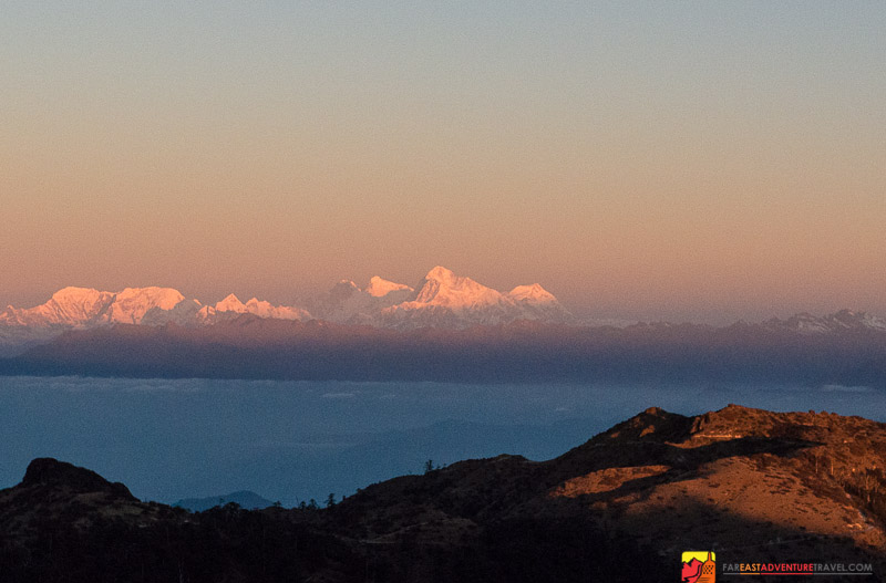 Sunrise over the Everest range with Makalu the tallest looking peak in the center-the highest mountain in the world Everest to the left-then Lhotse-view from Sandakphu-3636 meters