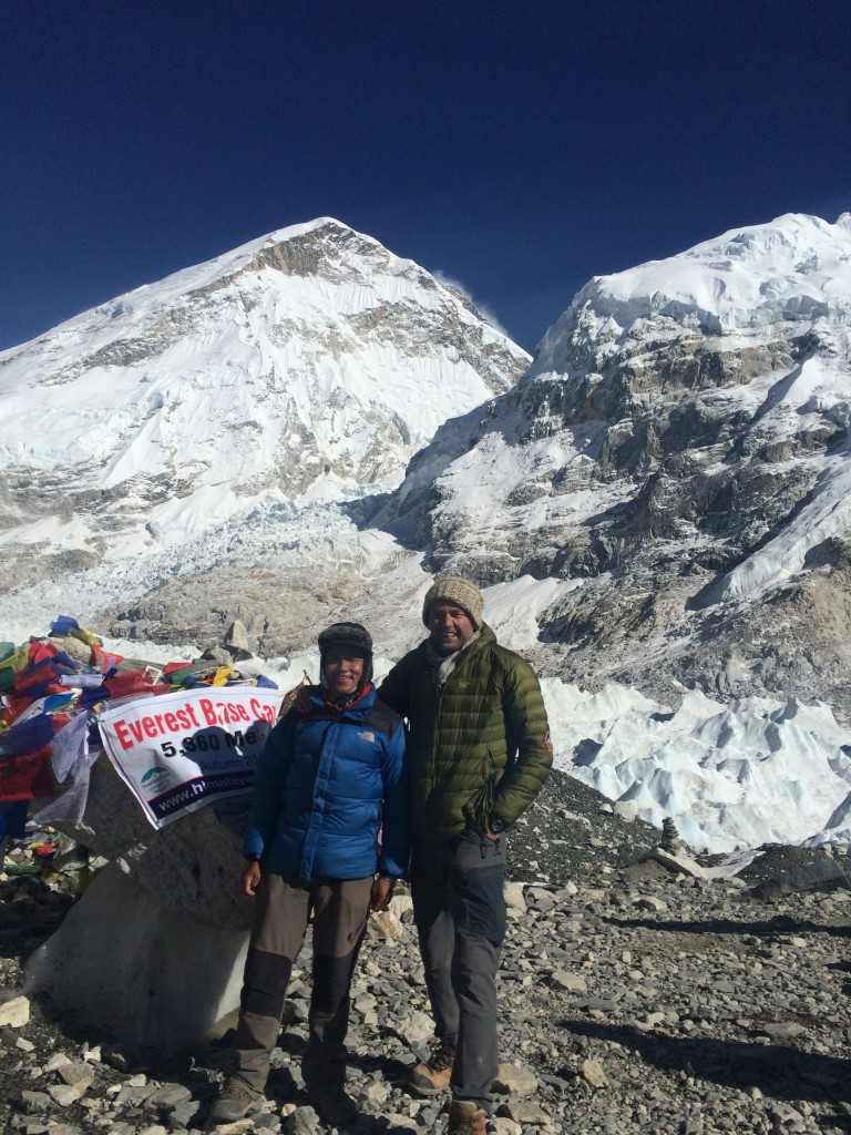 At Everest Base Camp, Nepal with my guide Hari Gurung