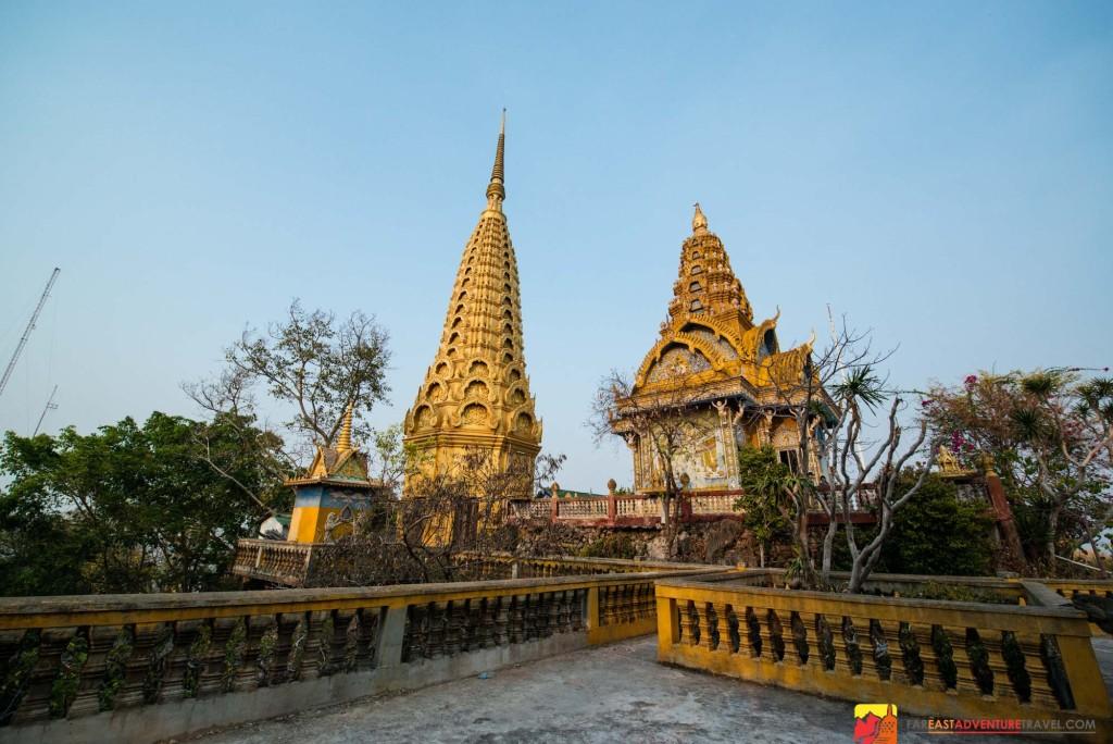 The golden stupa of Phnom Sampeau - 12km outside of Battambang, Cambodia