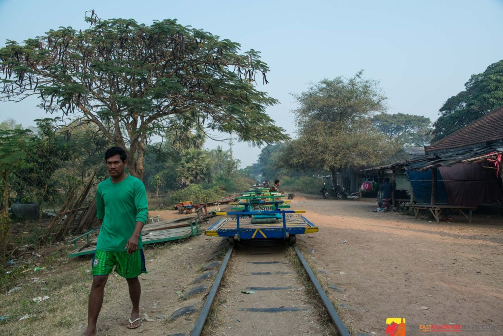 Bamboo train station at O Dambong-approximately 4 km from Battambang, Cambodia