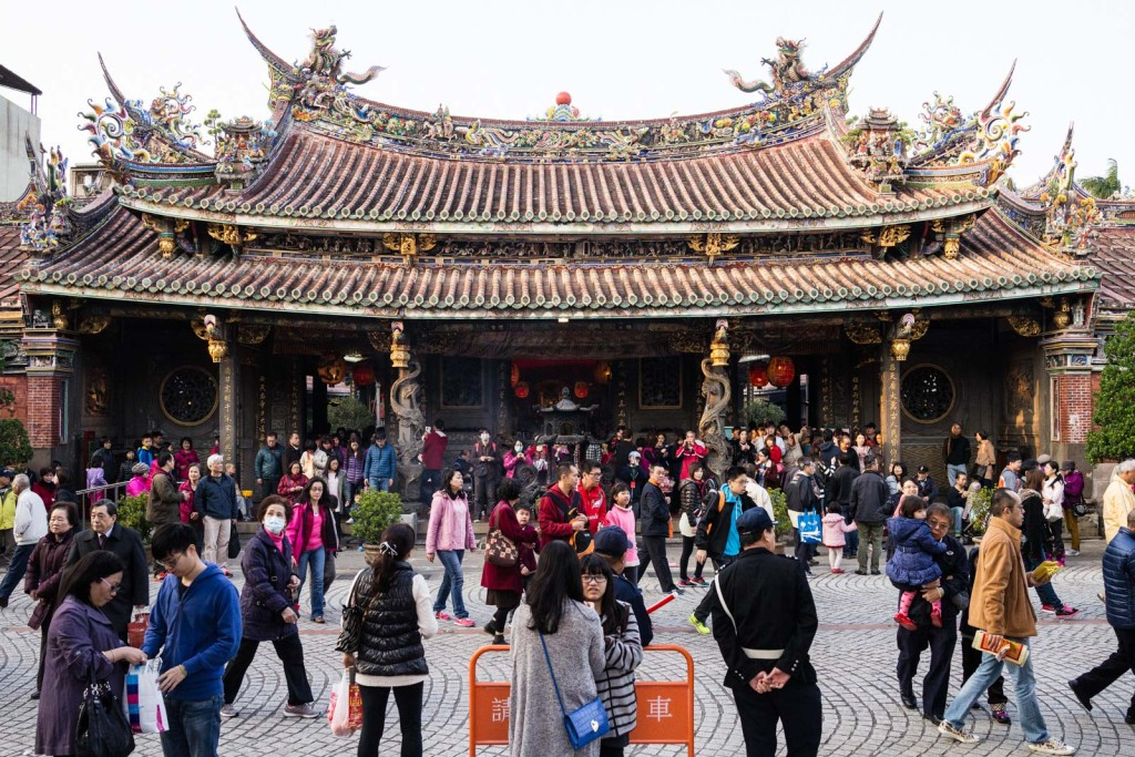 Outside the crowded Baoan Temple in Taipei on the first day of The Lunar New Year
