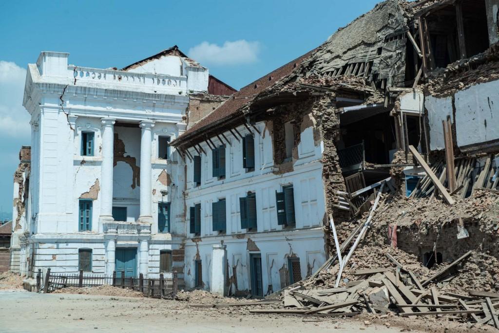 The Gaddi Baithak building in Kathmandu's Durbar  and Basantapur Squares heavily damaged after the earthquake on April 25, 2015