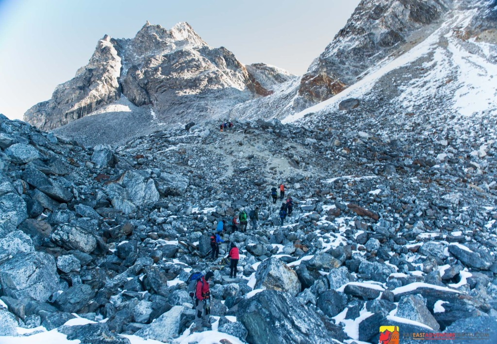 Climbing the Chola Pass is a challenging portion of an Everest Base Camp Trek if you're approaching the Khumbu from the Gokyo Valley