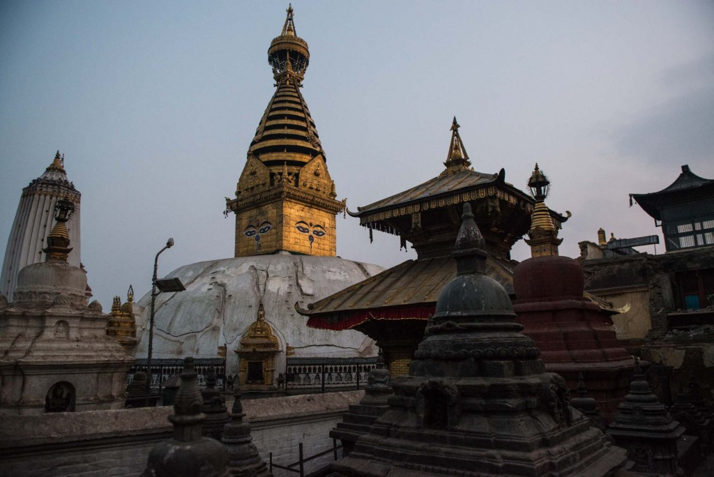 Swayambunath-The Monkey Temple and it's giant white Buddhist stupa seen at sunset-Kathmandu, Nepal