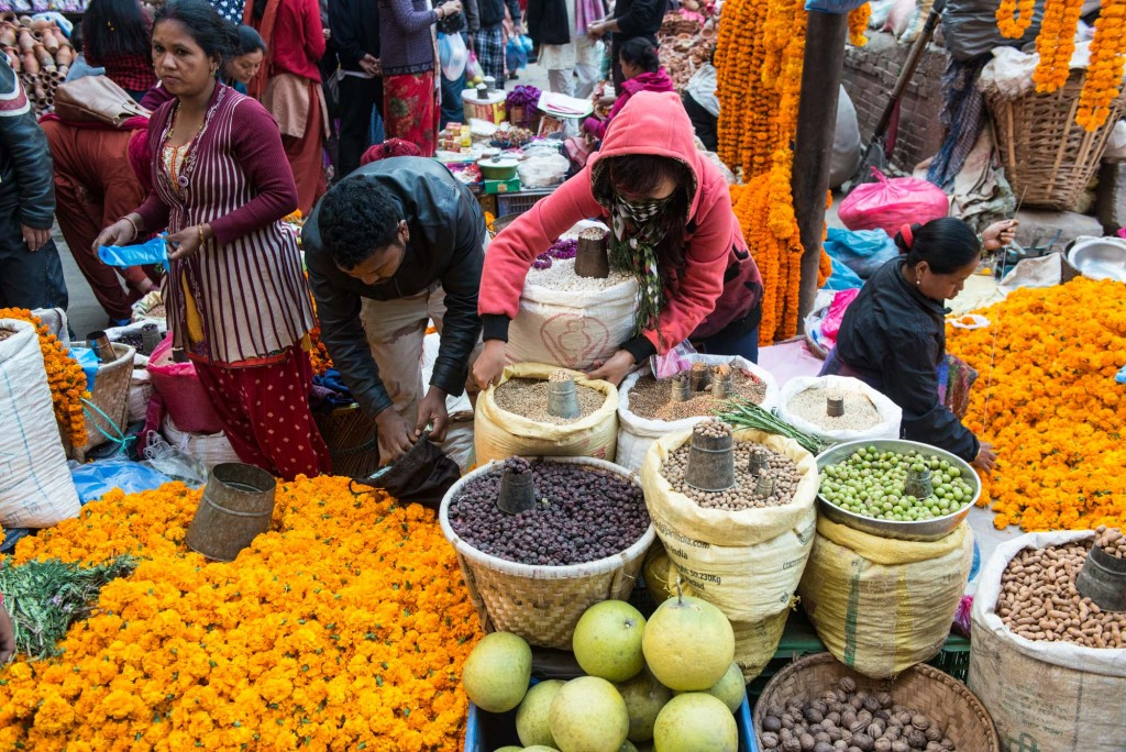 One of the many local markets on a walk from Thamel to Durbar Square in Kathmandu, Nepal