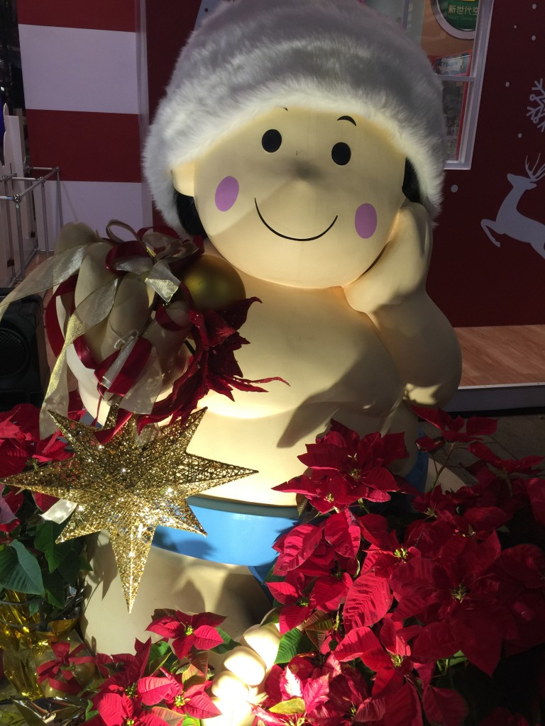 A Christmas sumo wrestler is part of the unique way of celebrating Christmas in Taipei's Xinyi Shopping District