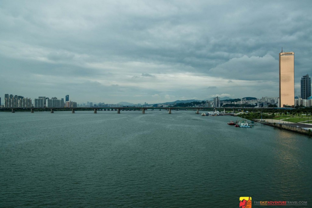 The Han River in Seoul, South Korea- a cycle friendly city with many dedicated cycle paths allowing for safe stops to soak up views of the vast urban landscape