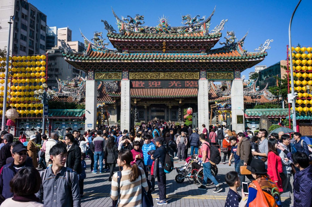 Longshan Temple is one of the most visited temples on the first day of the Lunar New Year in Taipei, Taiwan
