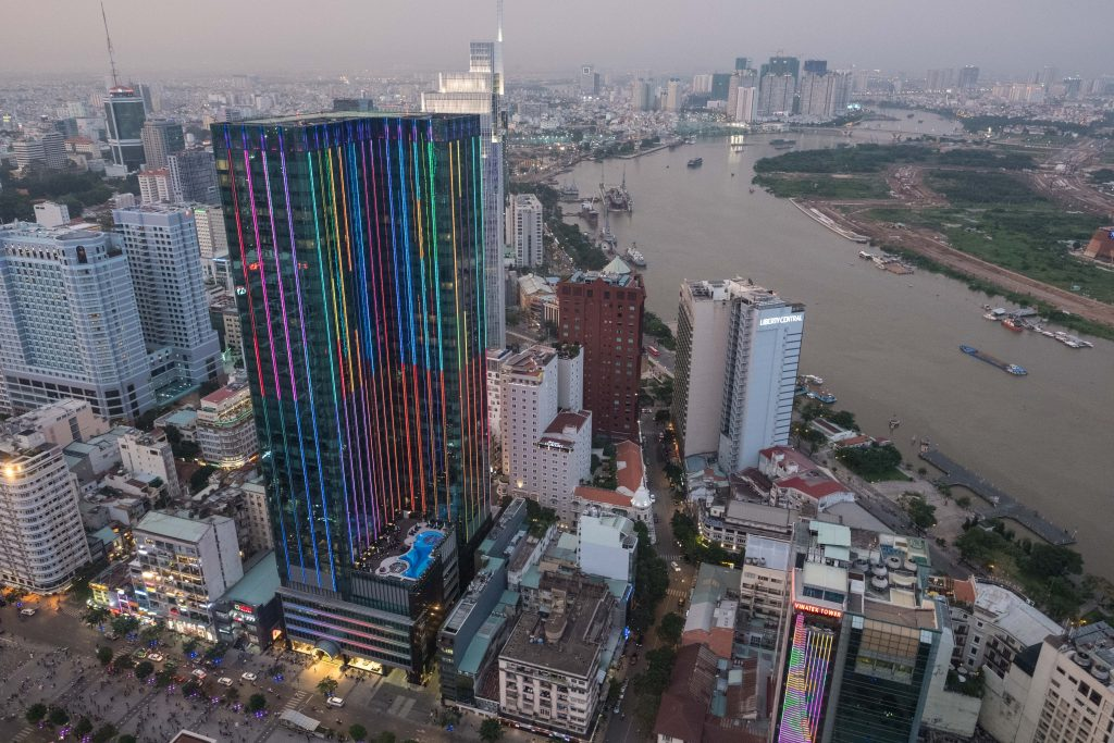 Views of the Saigon River and District 1 in the rapidly changing Ho Chi Minh City from the 49th floor of the city's tallest building, the Bitexco Financial Tower